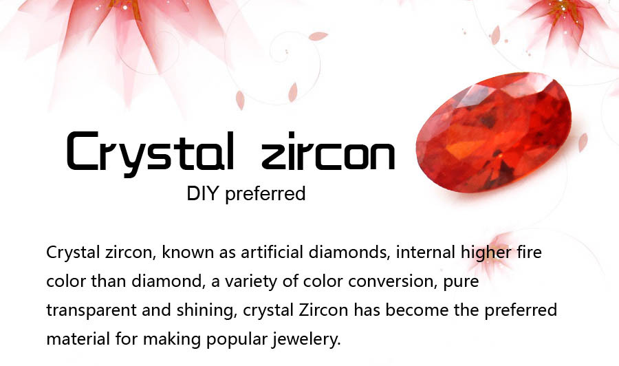 Oval zircon floating charms