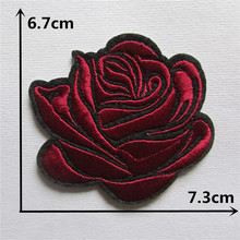 new arrive rose red rose hot melt adhesive applique embroidery patches DIY clothing accessory 1pcs sell free shipping(China)