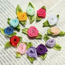 100 Pcs Hot Sale Home Decoration Ribbon Rose Wedding DIY Flower Satin Party Decor Bow Appliques Sewing Leaves