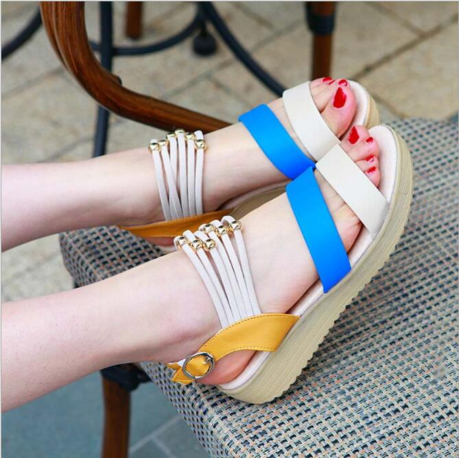 Womens fashion sandals color stitching color fashion shoes spring and summer shoes shook<br><br>Aliexpress