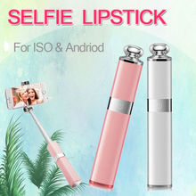 Fashion Selfie Stick beautiful nice lipstick style for iPhone 5,6,7,plus, SAMSUNG,HTC, for ISO, Andriod, blue tooth, wireless