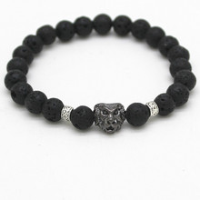 2016 New Fashion Natural Stones Lion Bracelet For Women Lava Stone Beads Men Bracelet Black Lava Beads Bracelets Pulseras Mujer