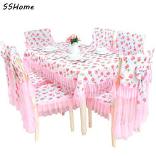 Pink Lace Tablecloths Chair Cushion Covers Korean Dining Table Polyester Cover Furniture Fabric Cloth High Quality Textile Decor
