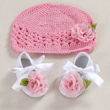 Flower Baby Shoes Girls Hats Photography Props set,Ballerina Booties,Sapato Baby,toddler girl shoes,Hand Crochet Knit Infant Hat(China)