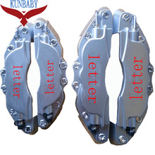 KUNBABY Silver Red Letter ABS Car Auto 3D Word Style Disc Brake Caliper Covers Front Rear Size M+S For Wheel 17'' And Under