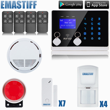 Free Shipping!! Touch LCD Wireless&wired GSM SMS Home Security Alarm System +PIR Sensors+Door Gap Sensors+Smoke/Fire Detector