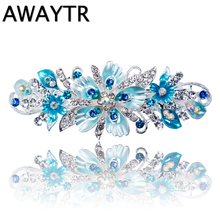 Newest Flower Hair Barrettes 2017 Women's fashion Full Diamond Crystal Hairpin Hair Clips Female Alloy Big Hairpins Headdress.(China)