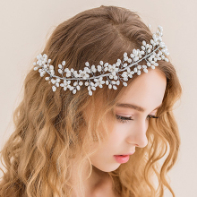 Vintage Tiara Bridal Headpieces Headdress Handmade Head Jewelry Decoration Pearl Flower Wedding Hair Piece For Bride