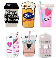 3D Drink Box Carton Beer Can Pack Coffee Lemonade Juicy Water Soft Silicone Case for iPhone 5 5S SE 5C 6 6S 7 Plus