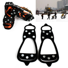 1 Pair 8 Teeth Non slip Spikes Crampons Ice Snow Shoes Crampon Walk Cleats Boots Grippers for Outdoor Climbing Hiking Travel Kit