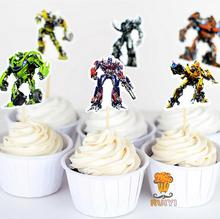 24 pcs/lot Transformers Party cupcake toppers picks baby shower kids Birthday Party Decoration Supplies