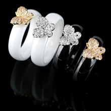 Unique Sale Women Butterfly Ring 6mm Width Black White Ceramic Rings With Bling Rhinestone Gold Silver Rings For Women Wholesale