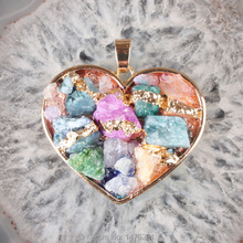 Hot Sale Natural Mix-color Crystal Agate Stone Gold Plated Heart Pendant Jewelry Pendant 1PCS DIY