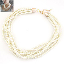 New Collier Femme Gold Color Choker Statement Necklace For Womens Jewellery Simulated Pearl One Direction Big Chunky Necklace(China)