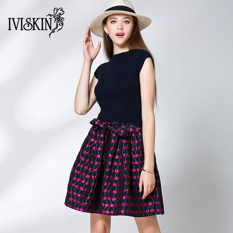 2017 Autumn Women Knitted Sweater Dress Famale elegant print hem Ball Gown Dress Sleeveless Vest mini Dress With BeltÎäåæäà è àêñåññóàðû<br><br>