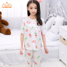 Discount Summer Baby Girls Pajamas Sets Cartoon Casual Modal Short Sleeve Children Cute Pajamas Sets For Kids Girls Sleepwear(China)