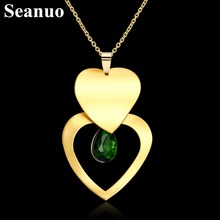Seanuo Yellow gold color double heart pendant necklace for women wedding romantic infinity love read CZ stone choker necklaces(China)