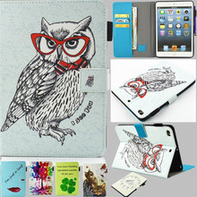 For IPad Mini Case Cool Carton Owl Color Tree Flip Tablet Cover PU Leather Case Stand Magetic for Ipad Mini 2 For ipad Mini 3
