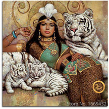 Cross Stitch Kits Indian women diy diamond paintings diamond embroidery 5d Tigers picture rhinestones Embroidery crystal mosaic