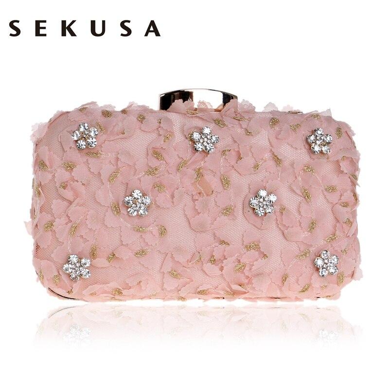 SEKUSA Lace Diamonds Women Evening Bag Wedding Party Chain Shoulder Purse Day Clutch Pink Black Pink Mini Evening Bag<br>