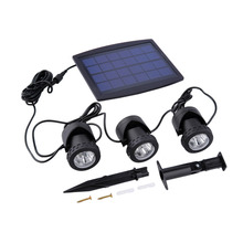 1PC Solar Panel With Solar Powered 3 Bulbs Submarine Spotlight 18LEDS RGB/Cool White Garden Pool Pond Lamp Underwater Lights