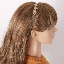 1 pc Girls Womens Fashion Metal Chain Jewelry Hollow Rose Flower Elastic Hair Band Headband