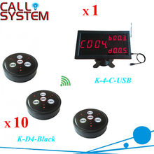 Wireless waiter paging system 1pc K-4-C-USB PC display receiver with 10 table bell 433.92mhz
