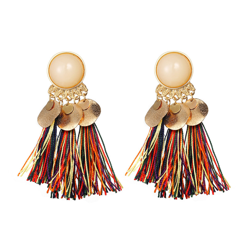 2018 Trendry Earrings for Women Bohemian Fashion Weave Tassel Earrings Long Drop Earrings Jewelry for gift Brincos J05#N (13)