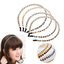 1pc Women Girl Rhinestone Beads Winding Jewelry Headband Head Piece Hair Band(China)