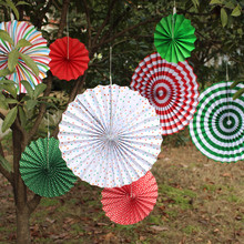 6pieces/set Colorful Paper Fans Round Wheel Birthday Kids Party Decoration Event Decorations Kindergarten Home Wall Decor