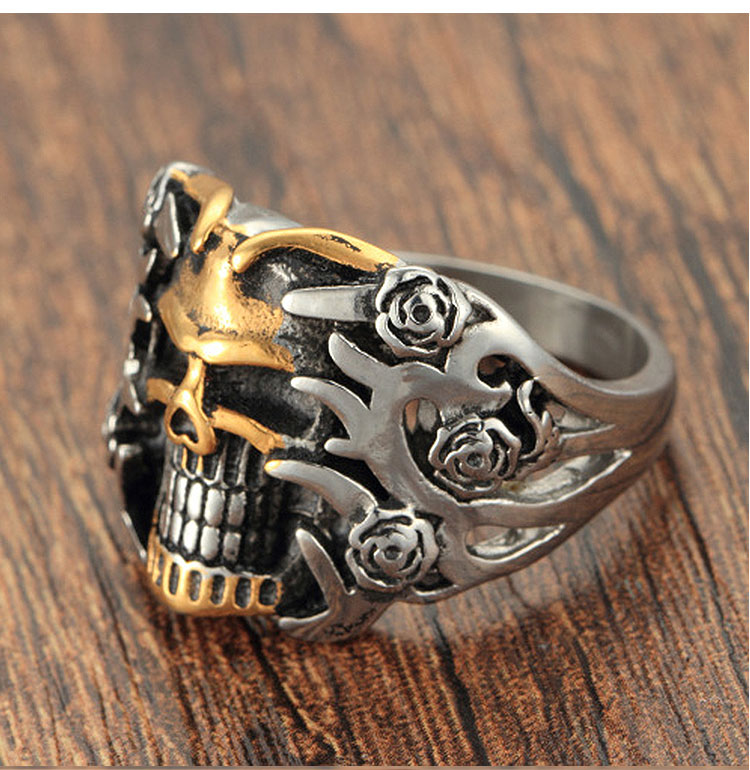 แหวนโคตรเท่ห์ Code 003 แหวนกะโหลกดอกไม้ Biker 4