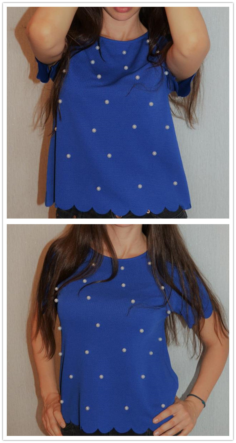 Scallop Trim Pearl Embellished Women Blouse Royal Blue Shirt Short Sleeve Cute Tops Elegant Ladies Blouse (Us 6-16)
