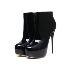 Plus Size 42 43 44 45 46 47 Women Spring Autumn Patent Leather Black Red White Zipper Platform Thin High Heels Ankle Short Boots