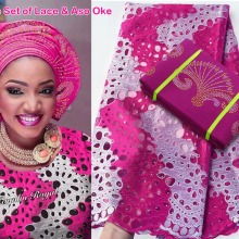 Tulle Lace Aso Oke Hot-Sale French High-Quality African 5-Yards Gele 2-Tunes Headgear