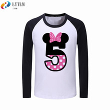LYTLM 5th Birthday Baby Shirt Long Sleeves Happy Kids Shirts Girls Vetement Fille Girl