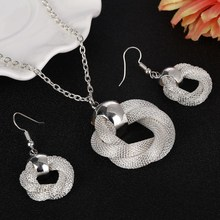 Silver Plated Luxury Jewelry Sets Women Fashion Circle Braided Mesh Pendant Necklace Long Dangle Earrings Set(China)
