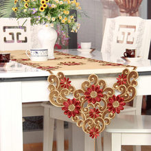 XT European table runner embroidery elegant tablecloth organza fabric embroidered rustic table runners wedding decoration cover(China)