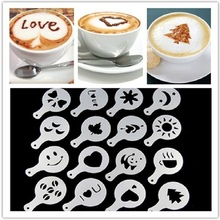Beautiful Design 16PCS/Lot Coffee Printed Mold Latte Cappuccino Coffee Tea Tool Coffee Tampers