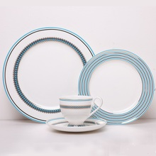 Four-piece sets Azure Bone china tableware set ceramic with dishes and coffe mug Service plate Dessert plate Diet utensils