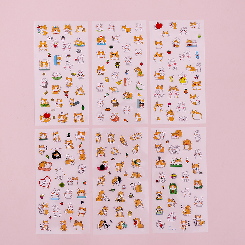 6 Pcs/pack Cute Cartoon Decorative Stickers Kawaii Dog DIY Diary Scrapbooking Student Sticker Stationery School Supplies