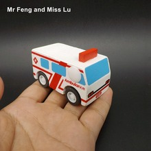 Wooden Pull Back Car Ambulance Educational Interactive Toys Babys