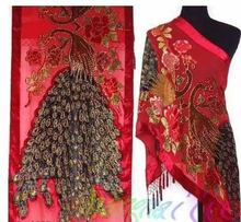 Free Shipping Red Ladies' Velvet Silk Beaded Embroidery Shawl Scarf Peafowl WS-090