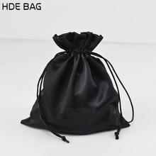 Manufacturer Custom Black Satin Gift Bag Wood Ear Drawstring Pocket Hair Extensions Packaging Bags Can Be Printed Logo