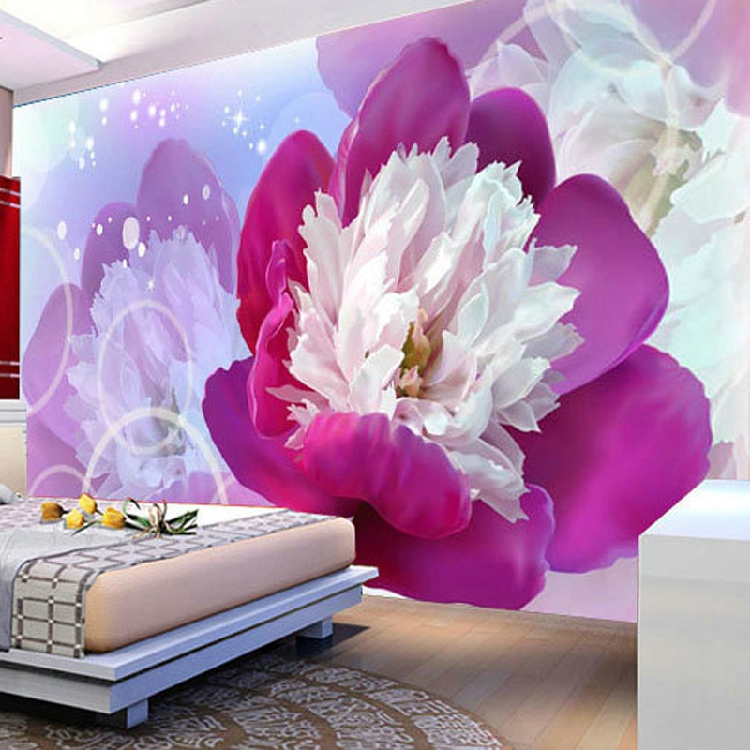 Free Shipping large mural 3D stereo TV background wallpaper bedroom non-woven wallpaper purple peony flower mural<br><br>Aliexpress