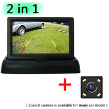 Auto Parking Assistance 4 LED Night Vision Car Rearview Reversing Rear View Camera + 4.3 inch Color LCD Video Foldable Monitor(China)