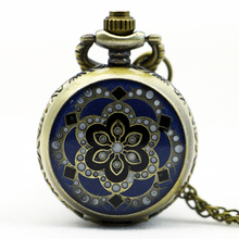 PS567 Vintage Jewelry New Colorful Enamel Rhinestone Movt Flower Pattern Pocket Watch Small Size(China)