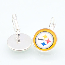 Pittsburgh Steelers Sports 20mm 12mm Glass Cabochon Earings French Leverback Earrings for Women Football Fans