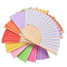 1PC Chinese Hand Paper Fans Pocket Folding Bamboo Fan Wedding Party Favor(China)