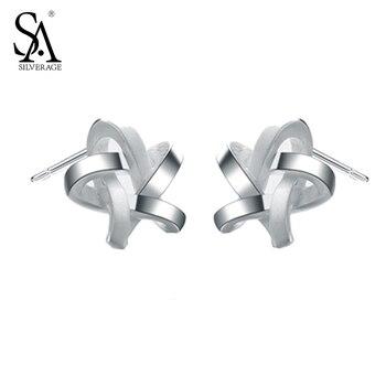 SA SILVERAGE Настоящее Стерлингового Серебра 925 Соткан Звезды Серьги Ювелирные Изделия Женщины 2016 Новый Интернет-Магазины