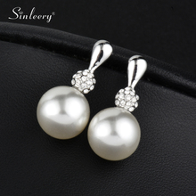 SINLEERY Elegant Round Simulated Gray/White Pearl Earrings Drop for Women Fashion Jewelry Gifts Brincos Es207 SSD(China)